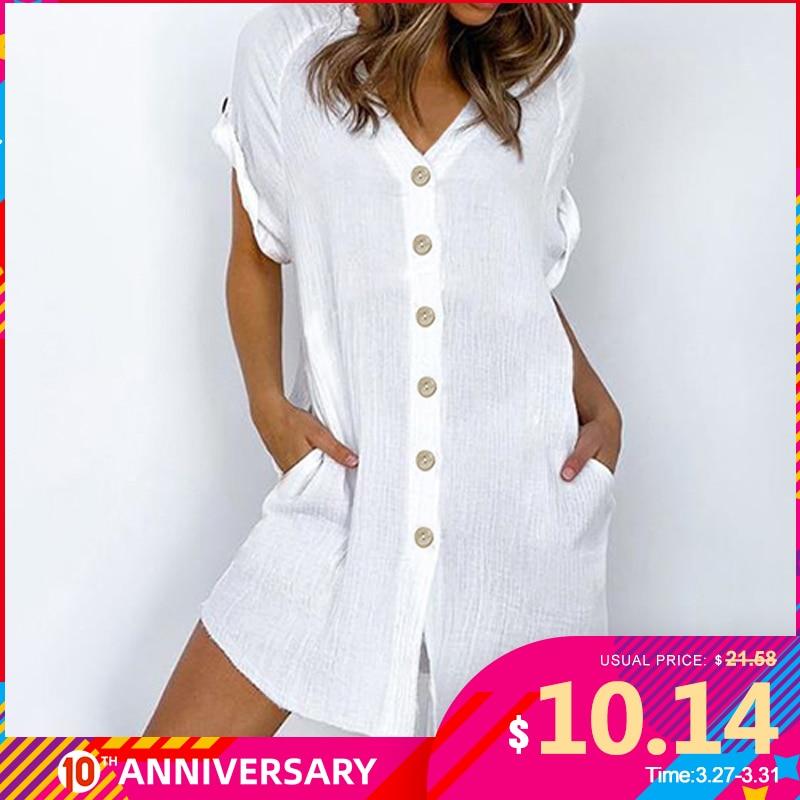 Celmia 2020 Summer Sexy Mini Dress Women Plus Size Sundress Ladies V Neck Short Sleeve Casual Solid Party Beach Vestidos Robe 7
