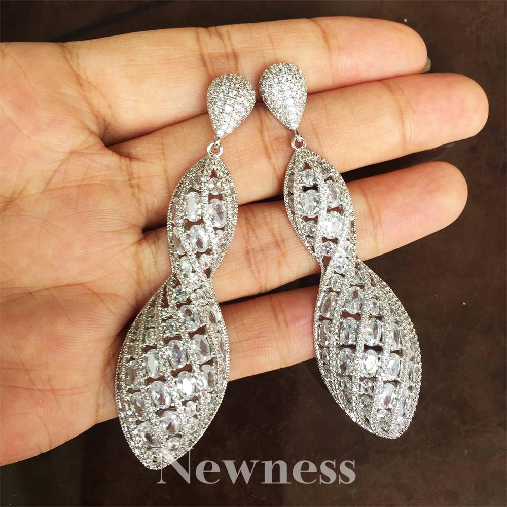 Newness Luxury Solid Ball Large AAA Cubic Zirconia Copper Earrings For Women Earring Fashion Jewelry