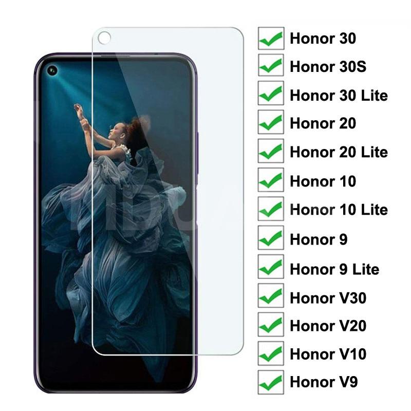 9H Tempered Glass on the For Huawei Honor 30 20 10 9 Lite Protective Glass Film Honor 30S V30 V20 V1