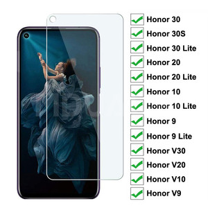 9H Tempered Glass on the For Huawei Honor 30 20 10 9 Lite Protective Glass Film Honor 30S V30 V20 V10 V9 Screen Protector Glass