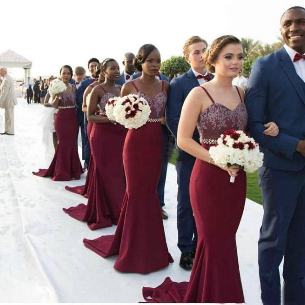 Sexy Burgundy   Bridesmaid     Dresses   2018 Mermaid Sweetheart Spaghetti Straps Long   Bridesmaid     Dress   Formal Maid Of Honor