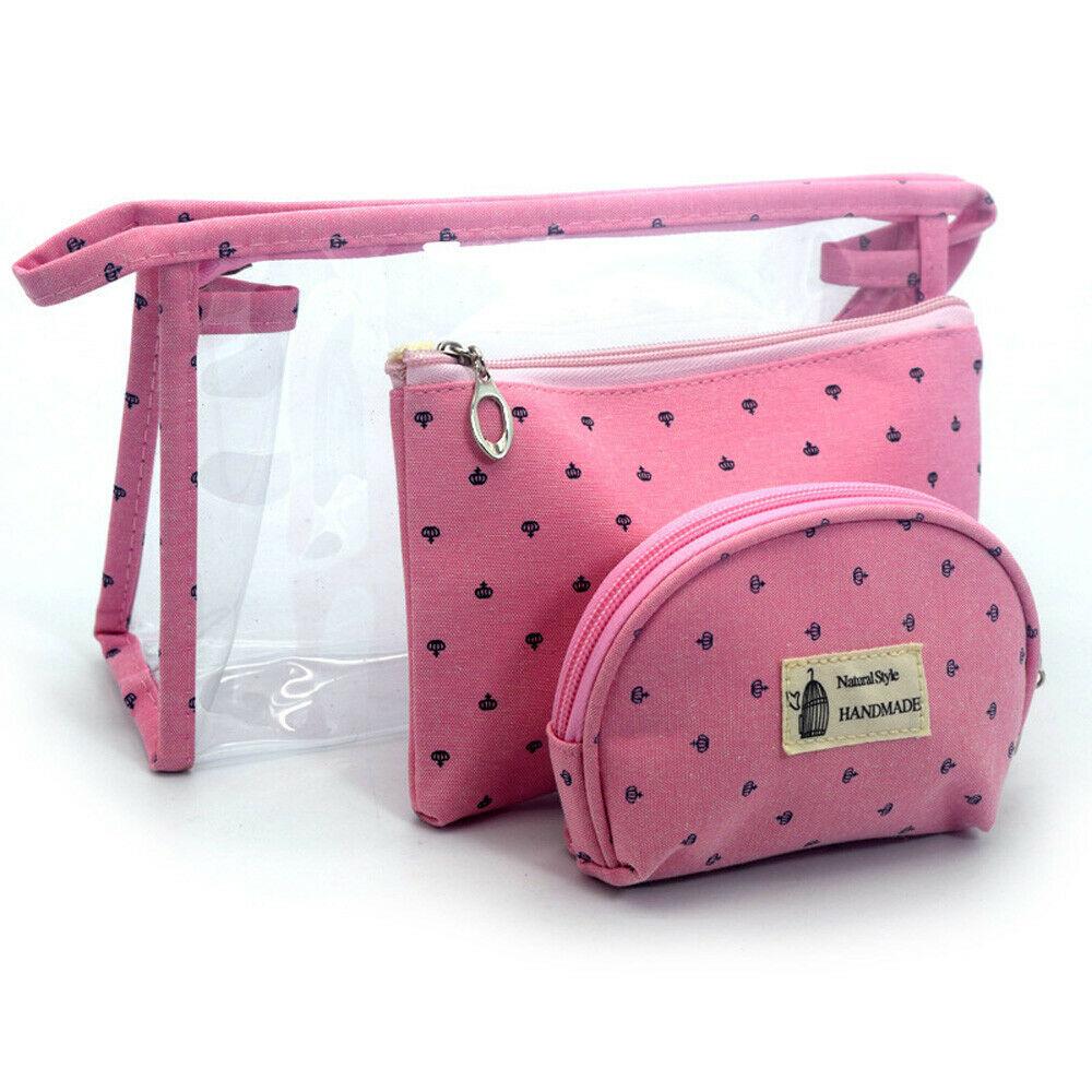 3Pcs Fashion Travel Cosmetic Bag PVC Women Zipper Clear Makeup Bags Beauty Case Make Up Organizer Storage Bath Toiletry Wash Bag