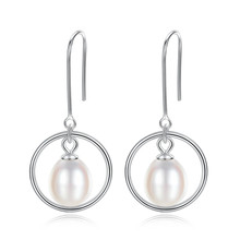 YUEYIN 925 Sterling Silver Dangle Earrings 8-9mm 100% Nature Pearl for Women Simple Round Circle Korean Jewelry Gift