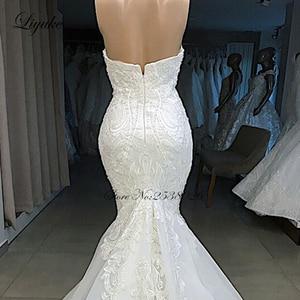 Image 3 - Liyuke 2020 マーメイドウェディングドレス高級 Plears オフショルダーケバケバ Plearls ノースリーブブライダルドレス