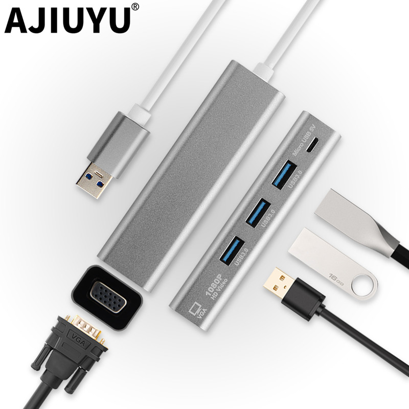AJIUYU <font><b>USB</b></font> to VGA Adapter <font><b>USB</b></font> <font><b>3.0</b></font> <font><b>Hub</b></font> Splitter Divider Cable Multi port Converter Dock Connecting Display For Windows <font><b>10</b></font> 8 7 image