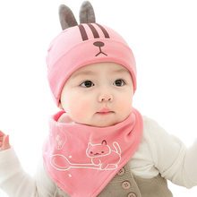 2019 Autumn Winter Newborn Baby Hat Set 2Pcs/lot Cap & Bibs Suit Cotton Babies Beanies Girls Boys Hats Kids Scarf