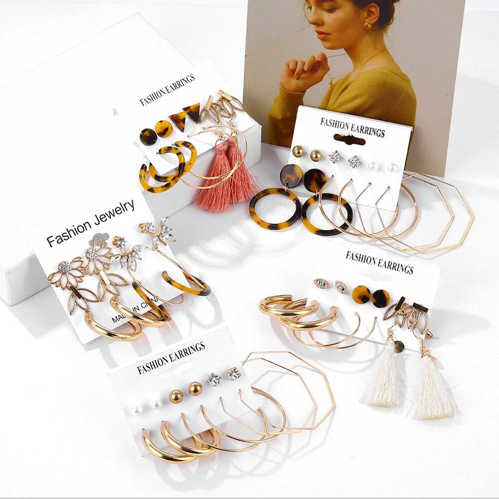 EN bohème mode perle boucles doreilles ensemble dames gland léopard acrylique boucles doreilles dames goujons accessoires cadeau