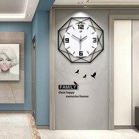 2020 Nordic fashion clock wall clock living room creative clock household metal decoration quartz clock digital wall clock