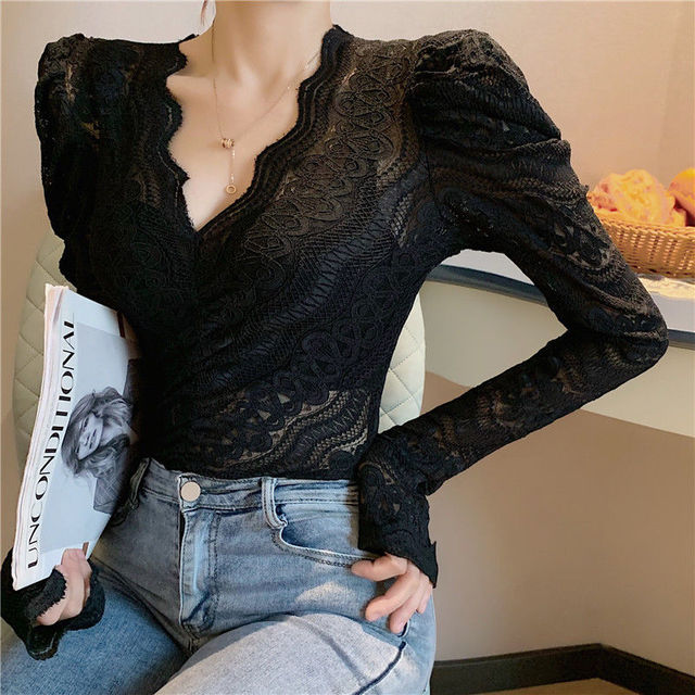 Blouses Women Elegant V Neck Slim Hollow Out Lace Blouses Autumn All-match Vintage Full Puff Sleeve Elastic Shirts Tops 3