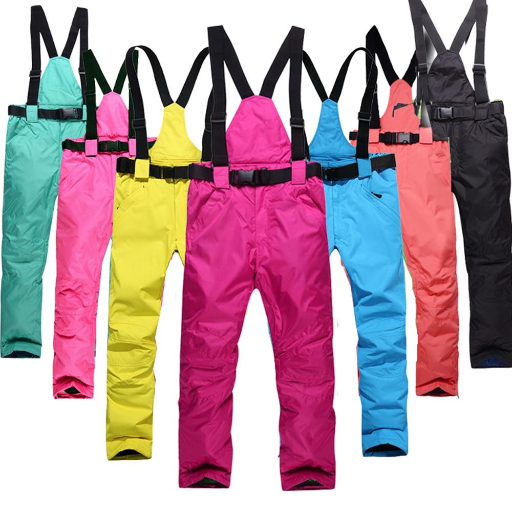 Женские лыжные брюки подтяжки для спорта на открытом воздухе лыжные брюки мужские ветрозащитные водонепроницаемые теплые зимние кросс-кан...