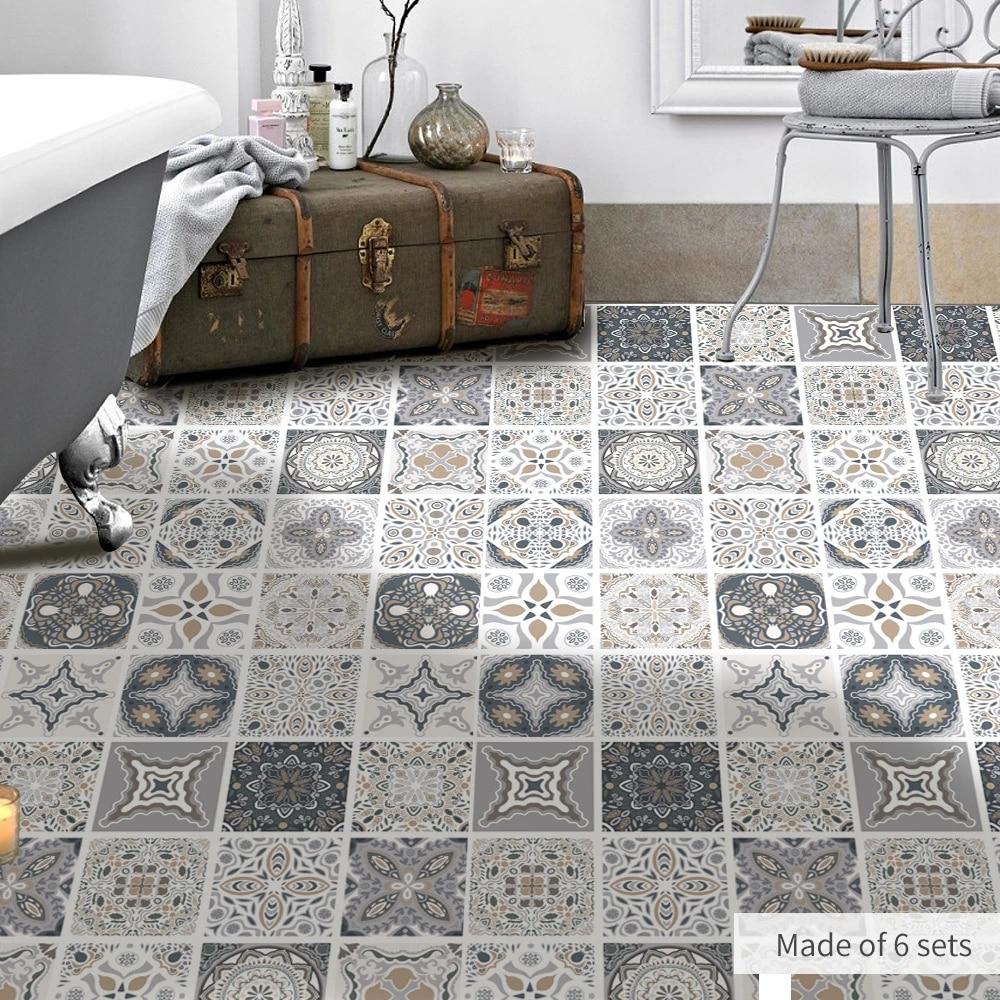 funlife moroccan adhesive floor tiles sticker waterproof bathroom decoration non slip pvc laminate flooring sheet carpet sticker