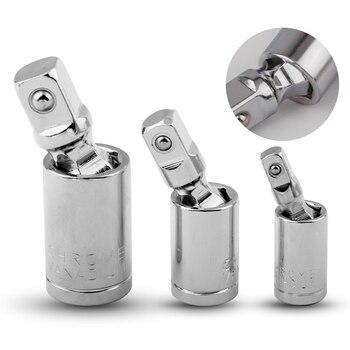 1/4″ 3/8″ 1/2″ Universal Joint Set Ratchet Angle Extension Bar Socket Adapter Manual and Pneumatic Bendable Adapter Socket Tools