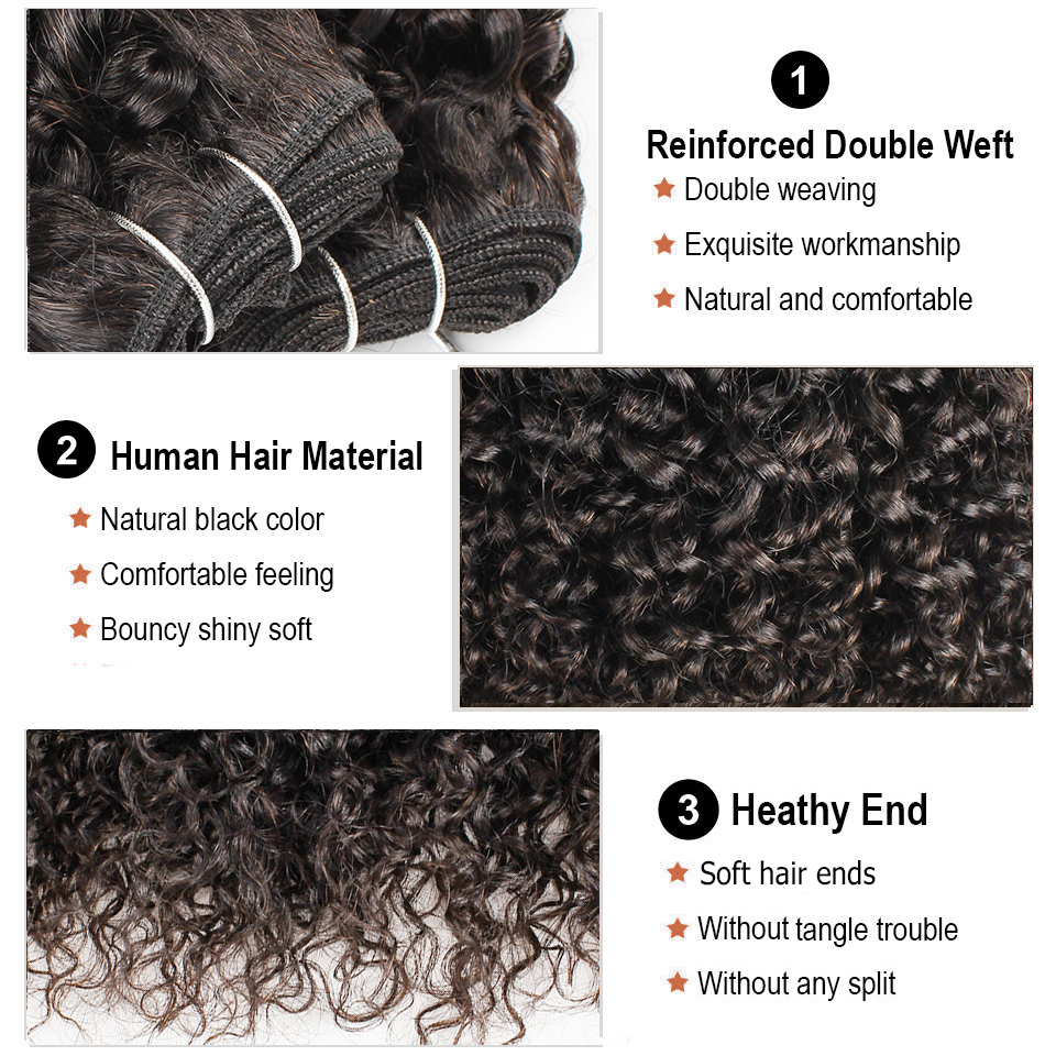 Bobbi Collection 50g/pc 4/6 Bundles with Closure Natural Dark Brown Jerry Curly Short Bob Style Brazilian Non-Remy Human Hair