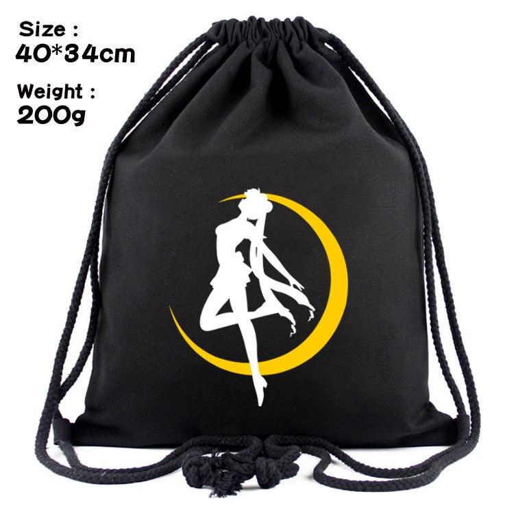 Sailor Moon Anime Cartoon Canvas Backpack Women Girls Fashion Casual Storage Bags Black Travel Sport Unisex Drawstring Bag Pouch