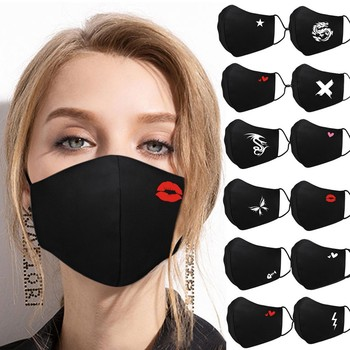 mascarillas Dustproof Mouth Mask Heart Print Cotton Face Mouth Mask Cartoon Face Reusable Fabric Anti Pollution Mask Party Mask cotton dustproof anime cartoon lucky bear mask combed cotton skull mouth masks half muffle face mask 1 piece
