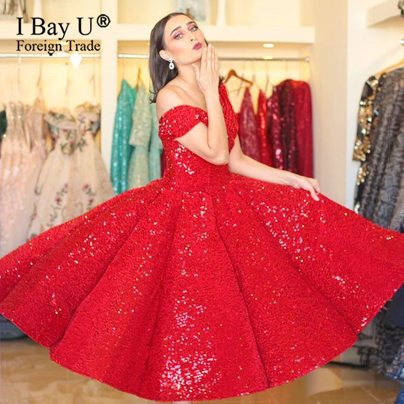 Sparkly Red Sequin Short Evening Dress 2020 Masquerade Ball Gowns Off Shoulder Sweet 16 Dress