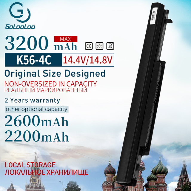 Golooloo 3200 mAh Células de bateria Do Portátil para Asus A31 K56 4 A32 K56 A41 K56 A42 K56 A56CM A56V A46C K46 K56 A46C A56 R505C s56c