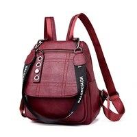 2019 3 in 1 Women Leather Backpacks Female Shoulder Bag Sac a Dos Travel Ladies Bagpack Mochilas School Bags For Girls Preppy