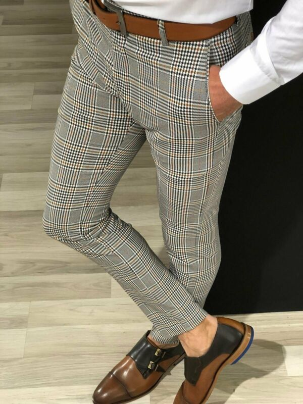 2019 Autumn Men's Checked Trousers Formal Smart Casual Office Business Dress Pants Elastic Straight Plaid Male Pants Plus Size