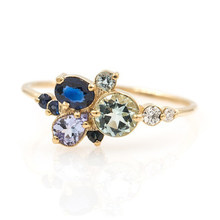 Simple Blue Crystal Mermaid Bubble Ring with High Quality AAA Zircon CZ Lady Ring Fashion Leisure Jewelry Gift women's rings(China)