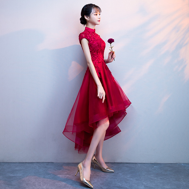 Bride Dress For Toast 2019 New Style Autumn Slimming Red Marriage Wine Evening Dress Women's Dignified Glorious Short