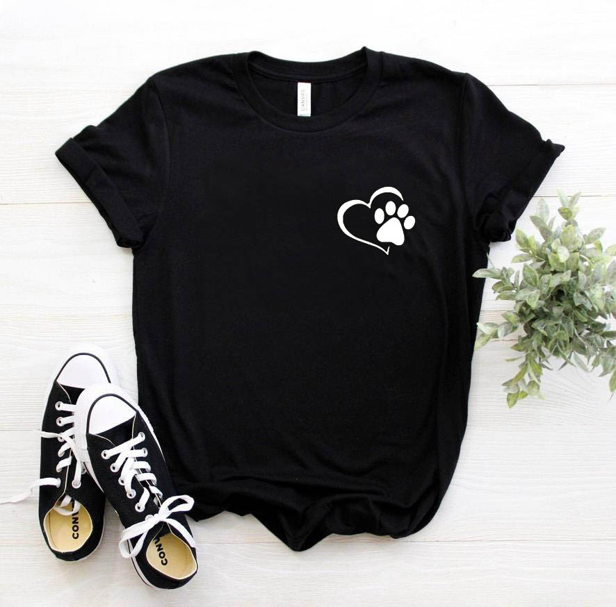 Paw Heart Pocket Dog Cat Women Tshirt Cotton Casual Funny T Shirt For Lady Girl Top Tee Hipster Drop Ship NA-353