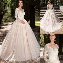 A Line Champagne Tulle Wedding Dresses 2020 V Neck Long Sleeves Lace Appliques Off the Shoulder Bridal Gowns Vestido De Noiva