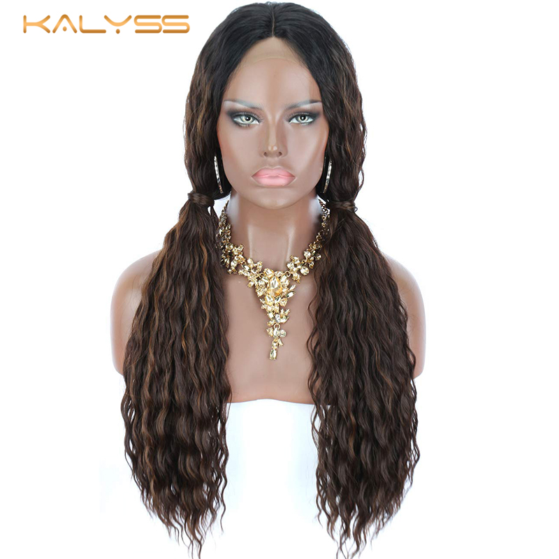 Kalyss 28 Inches Blonde Synthetic Lace Front Wigs for Black Women Long Curly Wavy Blonde Highlights Middle Part Wig Baby Hair