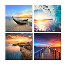 Sea Sunset Natural Landscape Wall Art Canvas Painting Nordic Posters And Prints Wall Pictures For Living Room Home Decor nordic lavender sea landscape posters and prints canvas painting flower scandinavian wall art picture for living room home decor