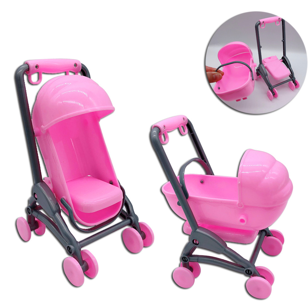 2020 Original For Barbies Stroller Assembly Baby Stroller Trolley Nursery Furniture Carts Toys For Barbies Doll Christmas
