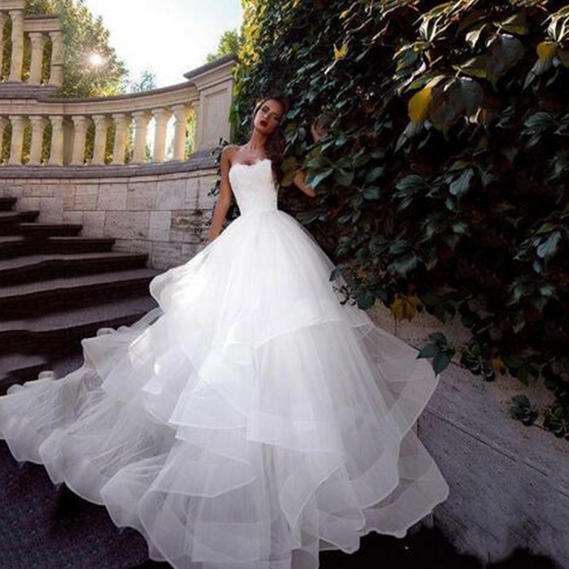 Vestido De Novia 2020 White Wedding Dresses Corset Lace Up Back Simple Tulle Ball Gown Wedding Gowns Bridal Dress Free Shipping Wedding Dresses Aliexpress