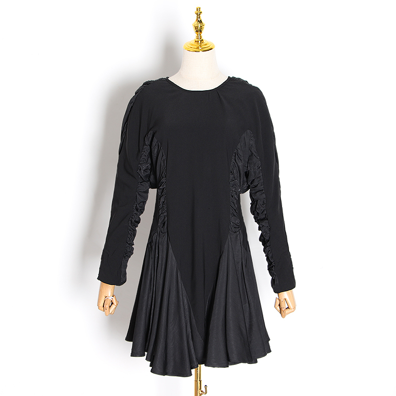 Image 4 - TWOTWINSTYLE, vestidos de mujer de retales con volantes, cuello  redondo, manga larga, cintura alta, vestido fruncido, moda femenina  2019, ropa TideVestidos   -