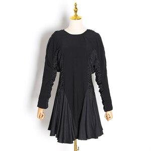 Image 4 - Twotwinstyle vestido feminino babado, patchwork vestidos femininos gola redonda manga comprida cintura alta ruched moda feminina 2020 roupa de maré