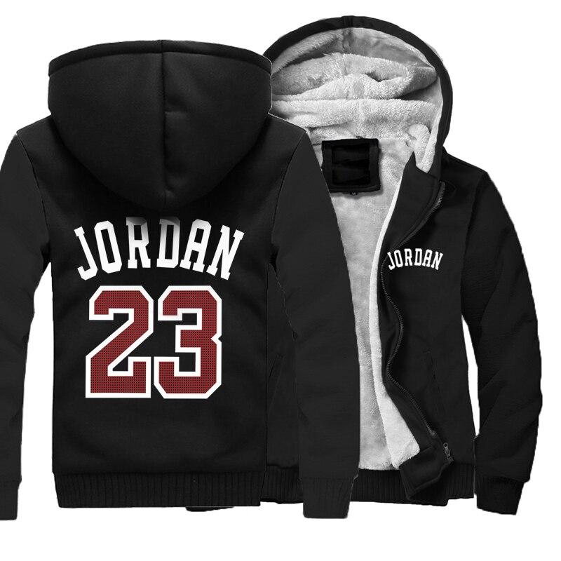 Image 3 - Men Hoodies Jordan 23 Thick Jacket 2019 Winter Sweatshirts Raglan Mens Streetwear Coat Thick Jacket Hip Hop Hoodies Harajuku-in Hoodies & Sweatshirts from Men's Clothing
