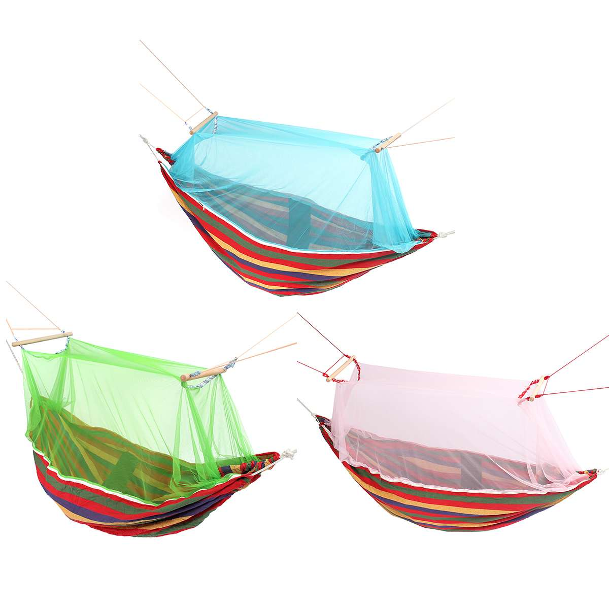 3 Color Outdoor Mosquito Net Parachute Hammock Portable Camping Hanging Sleeping Bed High Strength Sleeping Swing 190x150cm