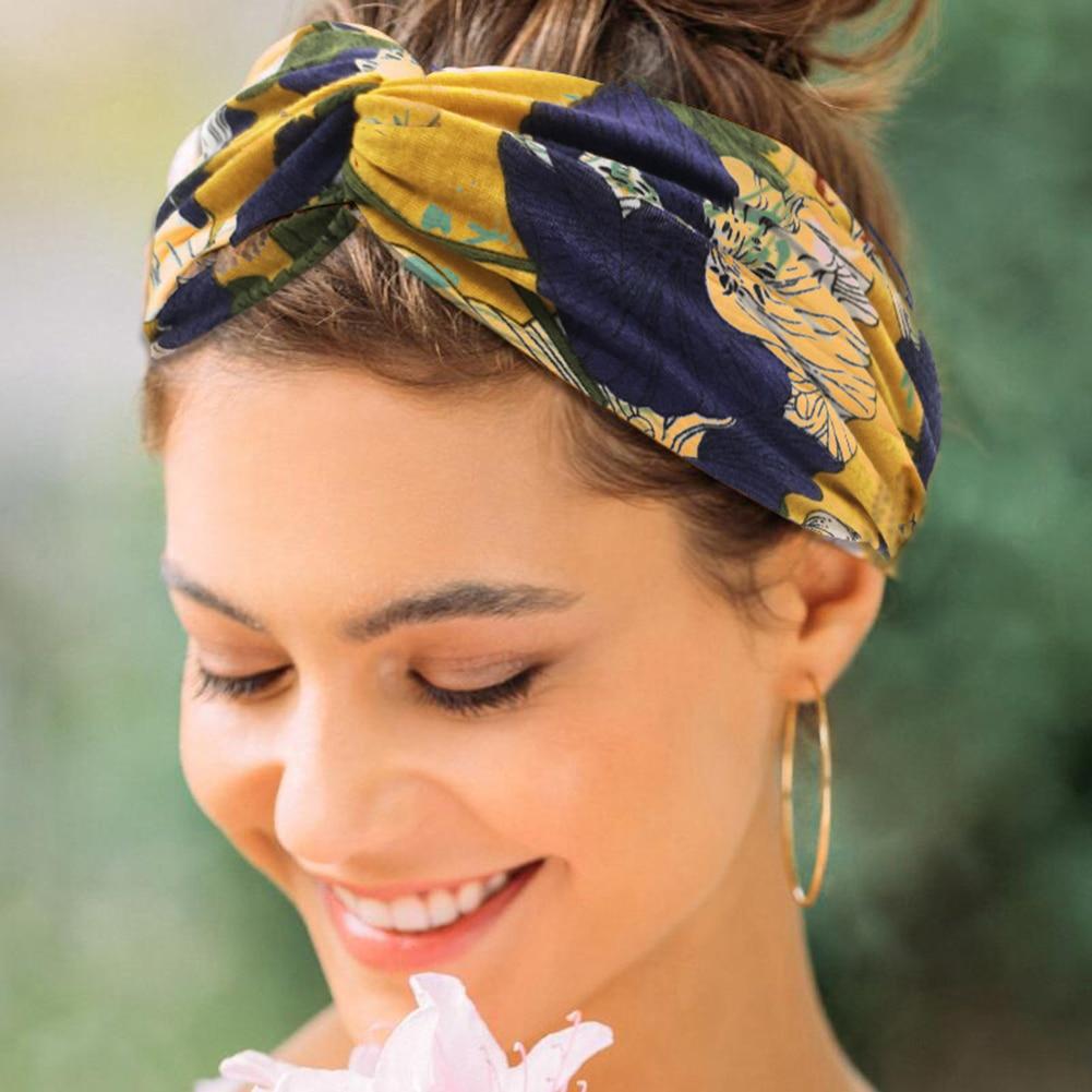 Women Flower Headband Floral Prints Elastic Turban Cross Knot Hair Band Wide Stretch Girls Hairband Hair Accessories