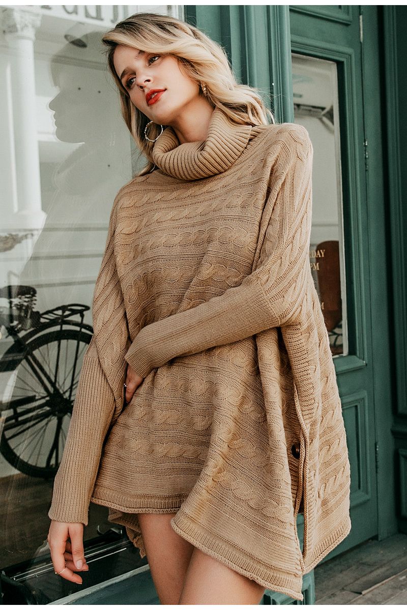 Simplee Turtlneck knitted women cloak sweater Bat sleeve autumn winter female pullover sweater Side split camel ladies jumper 7
