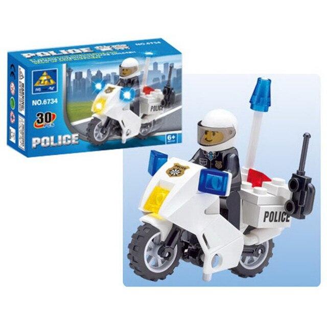 30 Uds. Coches de policía motocicleta técnica modelo ensamblado Compatible lepining juguetes de Bloques de construcción de ciudad para niños DIY regalos