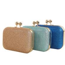 Sequined Glitter Women Clutches Female Pink Blue Solid Shoulder Pouch Concise Elegant Wedding Banquet Clutch Bag Handle Handbags