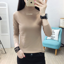 YUANYU Slim Casual Letter Embroidered T-shirt Korea Long Sleeve Turtleneck Female Women Basic knitting T-shirts