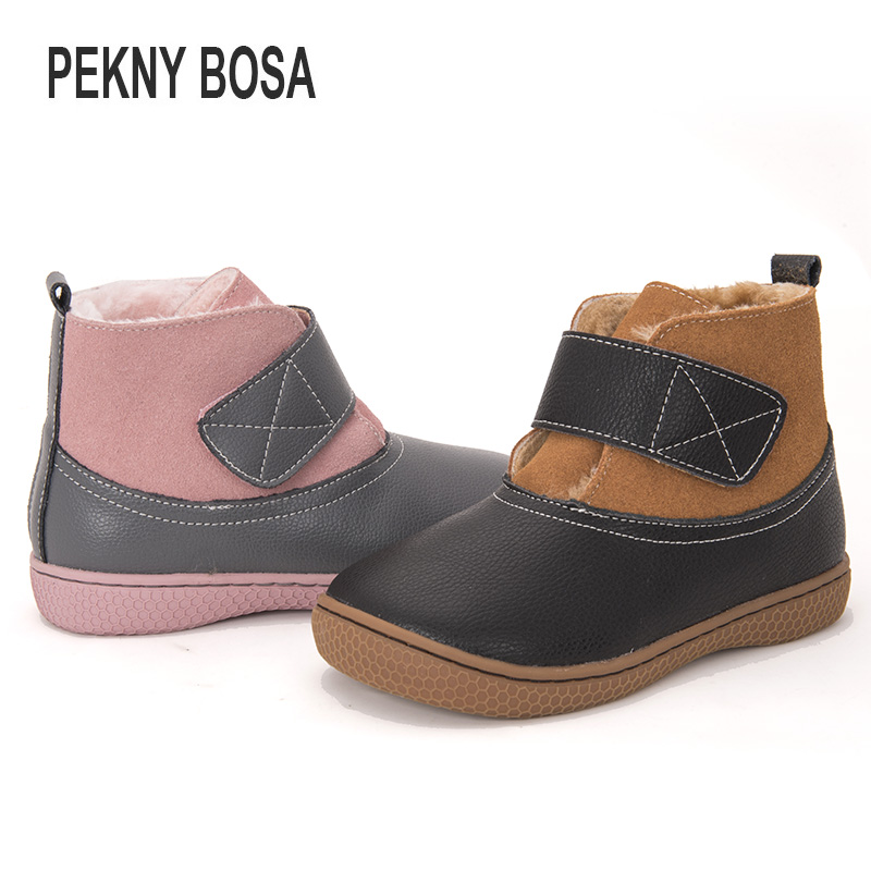 PEKNY BOSA Brand Winter Boots Children Snow Boots Toddler Girls Boots Plush Ankle Shoes For Boys Big Kids
