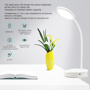 Image 2 - Usb Oplaadbare Led Klem Bureaulamp Zwanenhals Touch Dimmen Clip Op Leeslamp Voor Boek Bed En Computer 3 Kleur modi