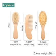 Baby Care Hair Wooden Handle Goat Hair Brush Baby Hairbrush Newborn Infant Comb Head Massager For Baby Shower Pure Natural Wool