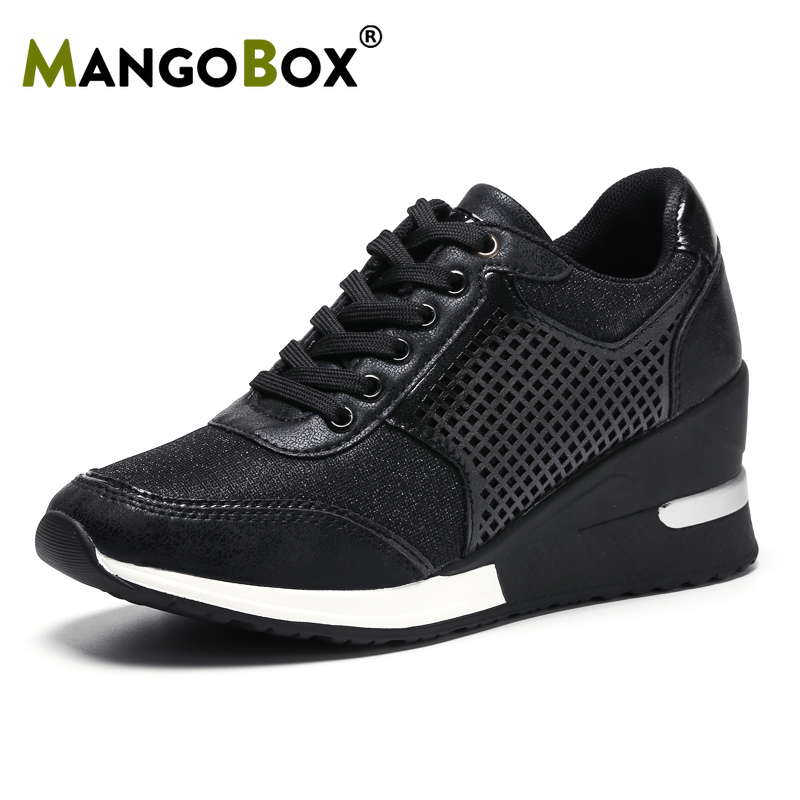 New Women 6.5cm Height Increasing Walking Sport Shoes Size 35-41 Outdoor Jogging Athletic Sneakers Breathable Ladies Trainers