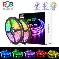 luces led,RGB 5050/SMD2835 cinta Flexible DIY tira de luz Led RGB cinta de diodo DC 12V app bluetooth