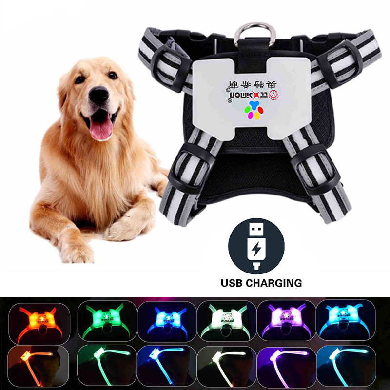 LED Dog Harness USB Rechargeable Glowing Pet Harness Vest No Pull Big Dog Chest Straps For Small Medium Large Dogs Pet Supplies