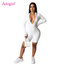 Adogirl Letter Embroidery Ribbed Jumpsuit Front Zipper Finger Cuff Long Sleeve S
