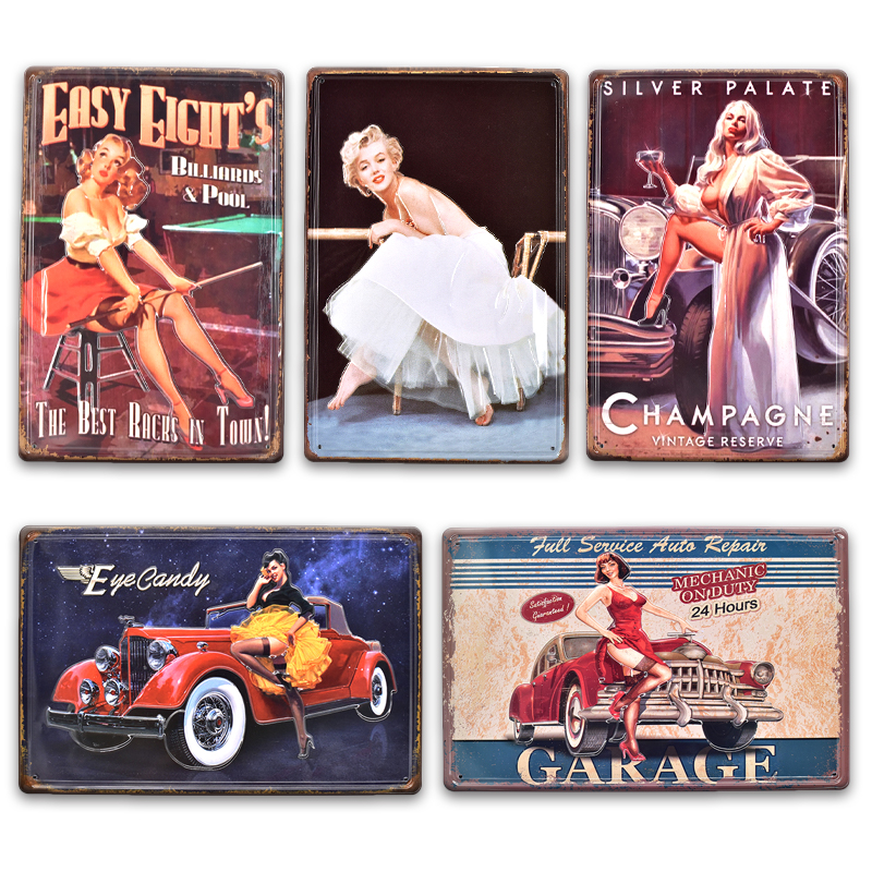 motorcycle pin-up girl best garage tin metal sign hot rod home decor