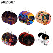 SOMESOOR Printed Black Sister Cruly Natural Hair Afro Wooden Drop Earrings Magic Girl Paint African Wood Dangle For Women Gifts unfinished wood printing africa girl round drop earrings wooden african hiphop tribal handmade diy jewelry natural accessories