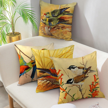 Fuwatacchi Pure Linen Cushion Cover Flora and Fauna Pillow Cover for Home Chair Sofa Decorative Pillowcases Cute Bird Pillows fuwatacchi cute unicorn cushion cover gold stamping throw pillow cover new rainbow christmas decorative pillows for home chair